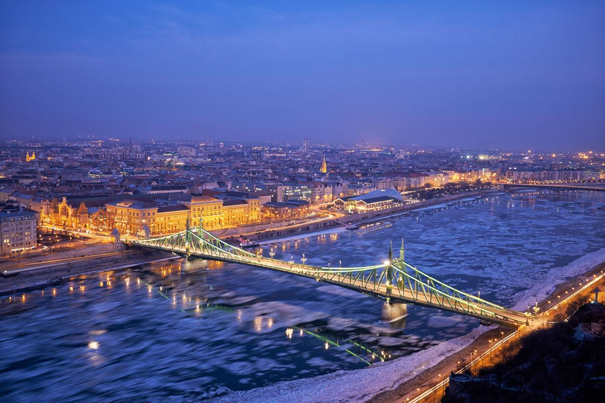 La vue de Budapest en hiver